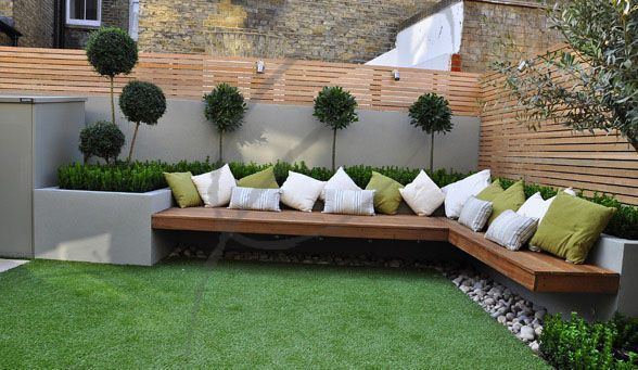 Garden seating area A typical small uninspiring 5m x 4m town garden sits unk