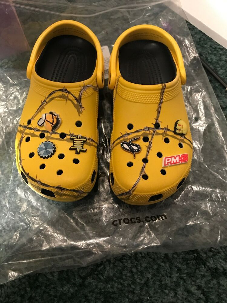Post Malone Barbed Wire: Post Malone X Crocs Barbed Wire Clog Yellow Size 7 Mens