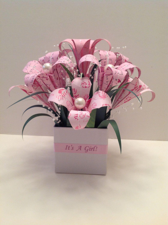 Its A Girl Origami Flower Arrangement Papercraft Pinterest