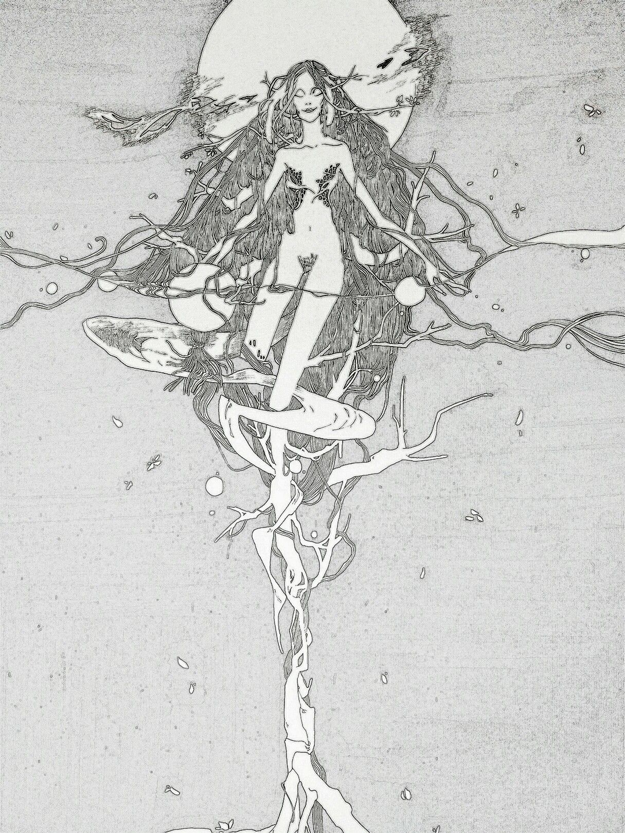 原创,手绘,插画。【皎月】