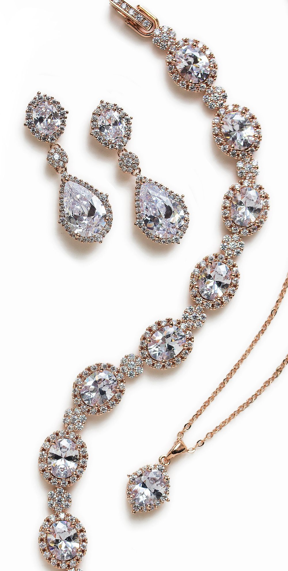 Cleo Crystal Pendant Necklace Rose gold jewelry Gold jewellery