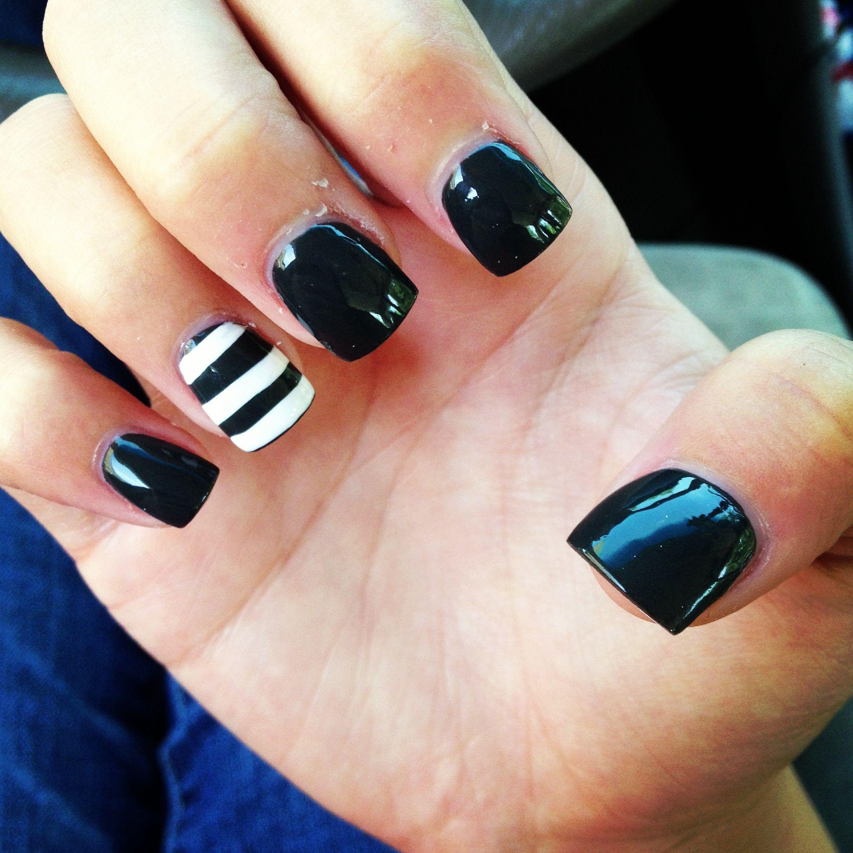 Gray And Black Nail Designs: Nail Design Charcoal Gray Black Nails Striped Nails