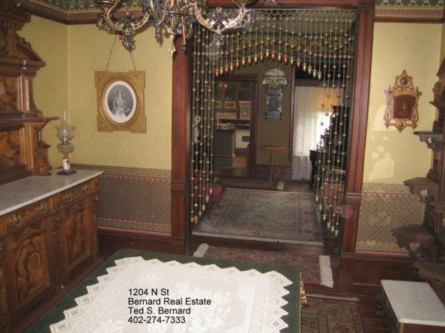 1885 Italianate.  rope and bead portiere.