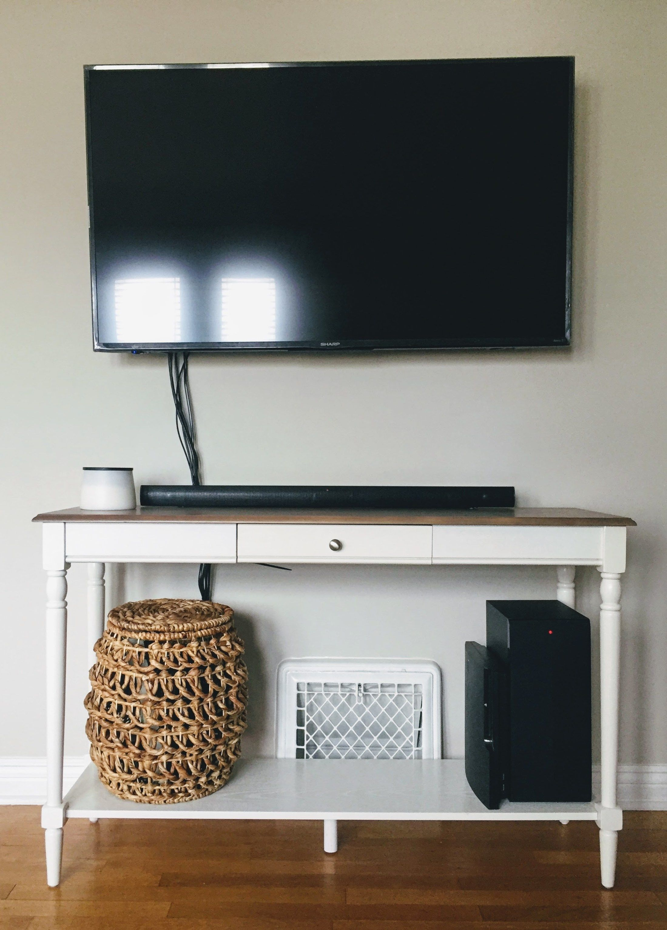 Mounted Tv With Console Table In Progress Hide Cables And Cable Box Using A Basket How To Hide Mounted Tv Cables Witho Hide Tv Wires Mounted Tv Hide Cables