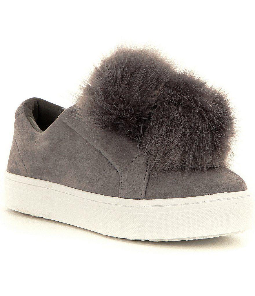 50e86ae514da2 Grey Sam Edelman Leya Faux-Fur Pom Pom Suede Slip-On Sneakers ...