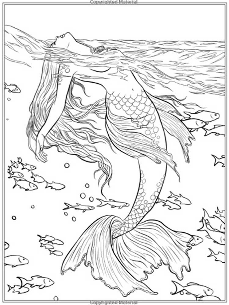 Free Mermaid coloring pages for Adults. Printable to