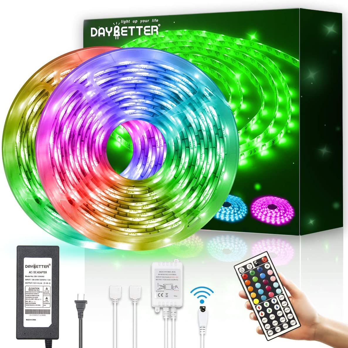 Daybetter Led Strip Lights Waterproof 600leds 32 8ft 10m Flexible Color Change Rgb Smd 5050 With 44 In 2020 Led Strip Lighting Strip Lighting Flexible Led Strip Lights