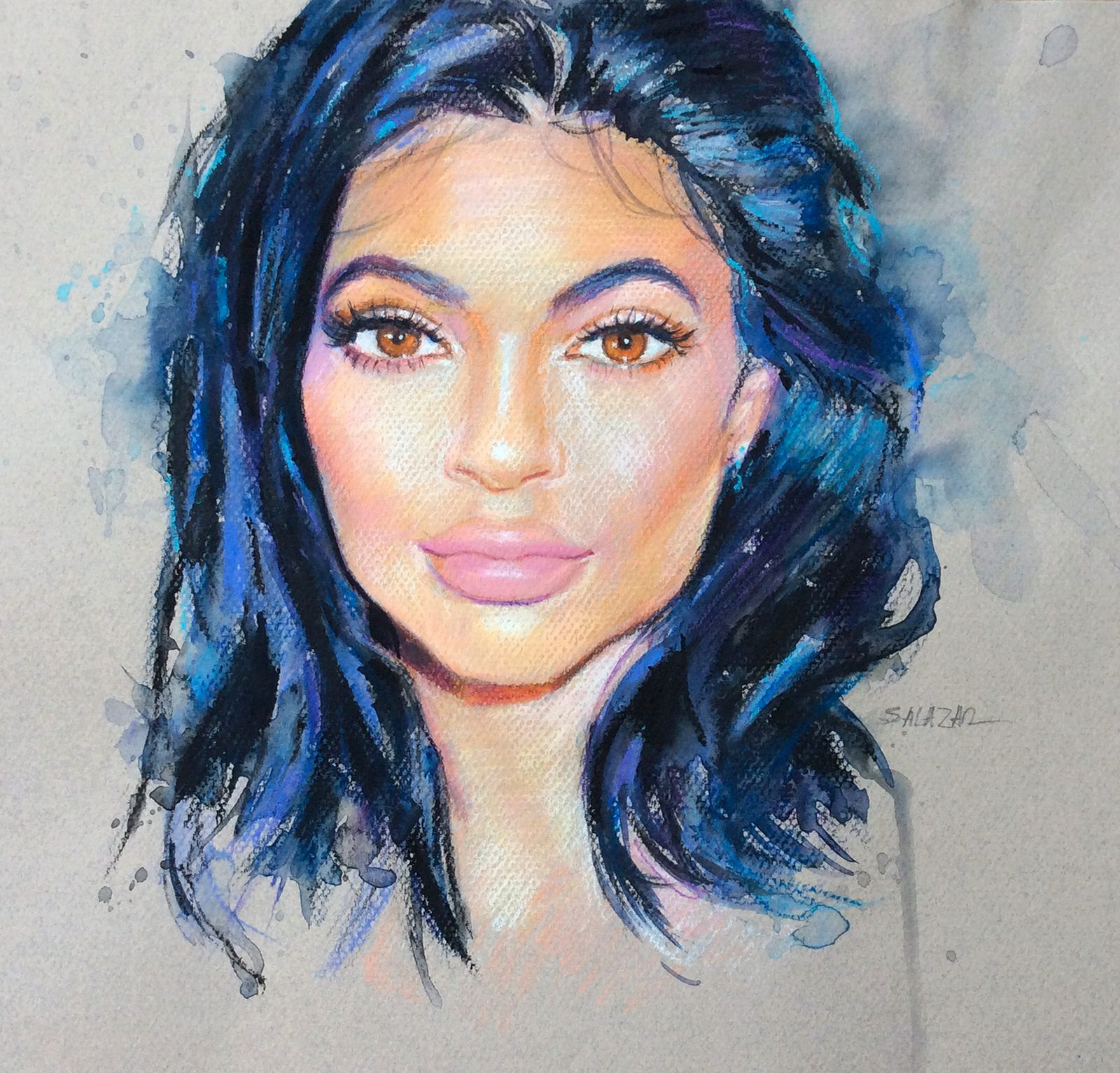 https://flic.kr/p/BUC7aq | Kylie Jenner | Pastel Caran d'Ache, Neocolor II watersoluble. Canson. Making of: youtu.be/PwlKgTaZHb8