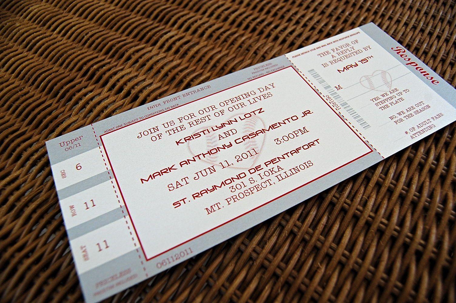 20 Ticket Wedding Invitations Ticket Wedding Invitations Baseball Ticket Wedding Invi Ticket Wedding Invitations Baseball Wedding Invitation Baseball Ticket