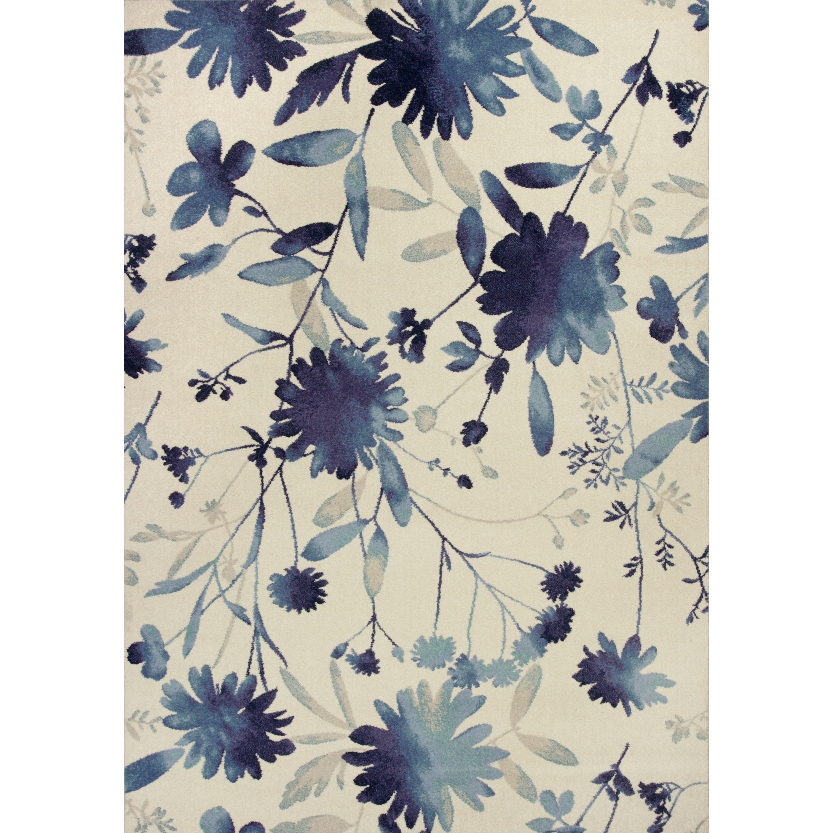 Domani Madison Blue Floral Watercolors Area Rug Blue 6 7 X 9 6