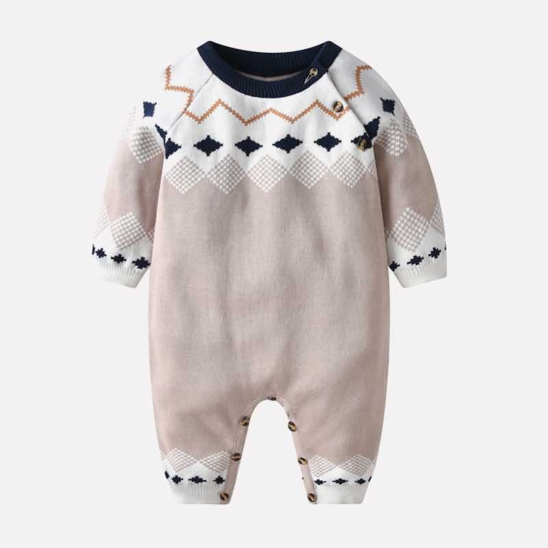 Photo of Dark-blue Baby Boys Diamond Ringer Neck Casual Knitted Jumpsuit – 9 12 MONTHS