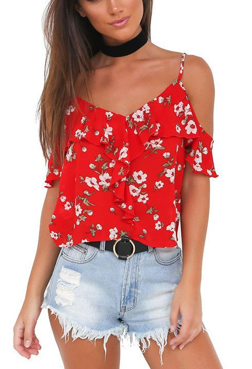 36dff526f1d5 Summer Fashion Women Blouse Flower Print Off Shoulder V-Neck Sexy Blouse  Shirt LJ8583M