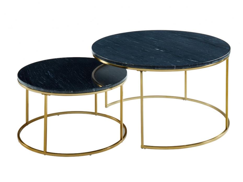 Tables Basses Gigognes Marbre Et Metal Noir Angela En 2020 Table Basse Gigogne Table Basse Gigogne
