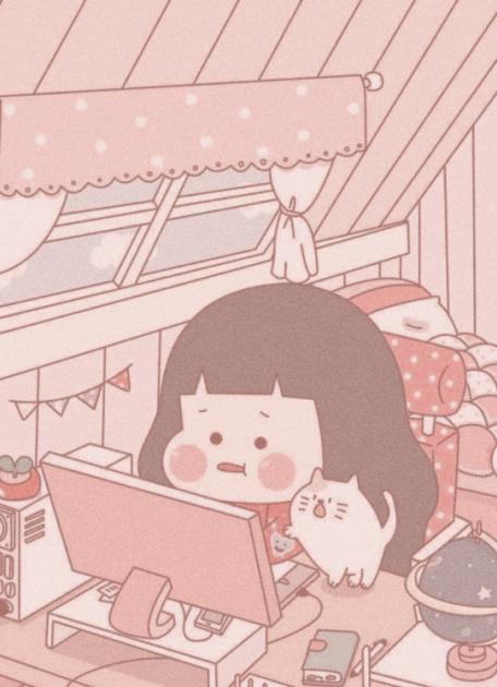 Pink Cartoon Aesthetic Wallpaper Desktop