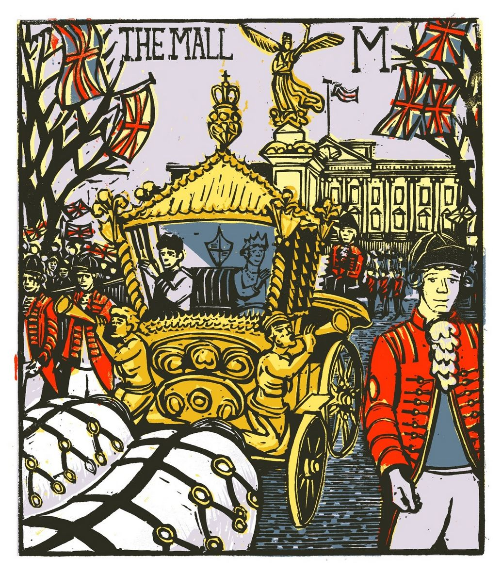 """M - The Mall"" from ""London A-Z"" Complete Boxed Set linocuts by Tobias Till, 2012. http://www.tobias-till.co.uk/. Tags: Linocut, Cut, Print, Linoleum, Lino, Carving, Block, Woodcut, Helen Elstone, Buildings, Architecture, Queen's Carriage, Horses, People, Footmen, Gold State Coach."