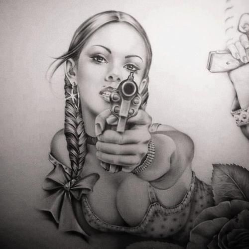 Gangsta Drawings With Guns Mexican Lowride...