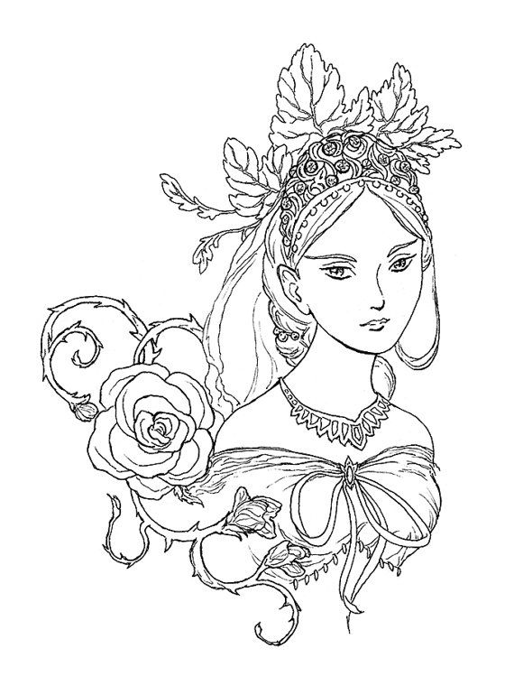 Tatiana Fairy Queen Portrait Ink Drawing Coloring Page Instant