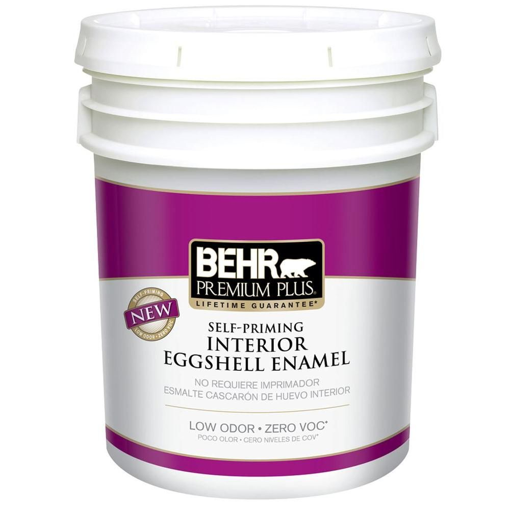 Behr Premium Plus 5 Gal Ultra Pure White Eggshell Enamel Low Odor Interior Paint And Primer In One 205005 The Home Depot Exterior Paint Premium Plus Home Depot Exterior Paint