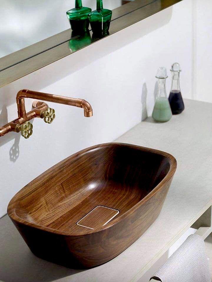 Lavabo en madera ba os pinterest lavabo madera y ba os for Lavabo madera
