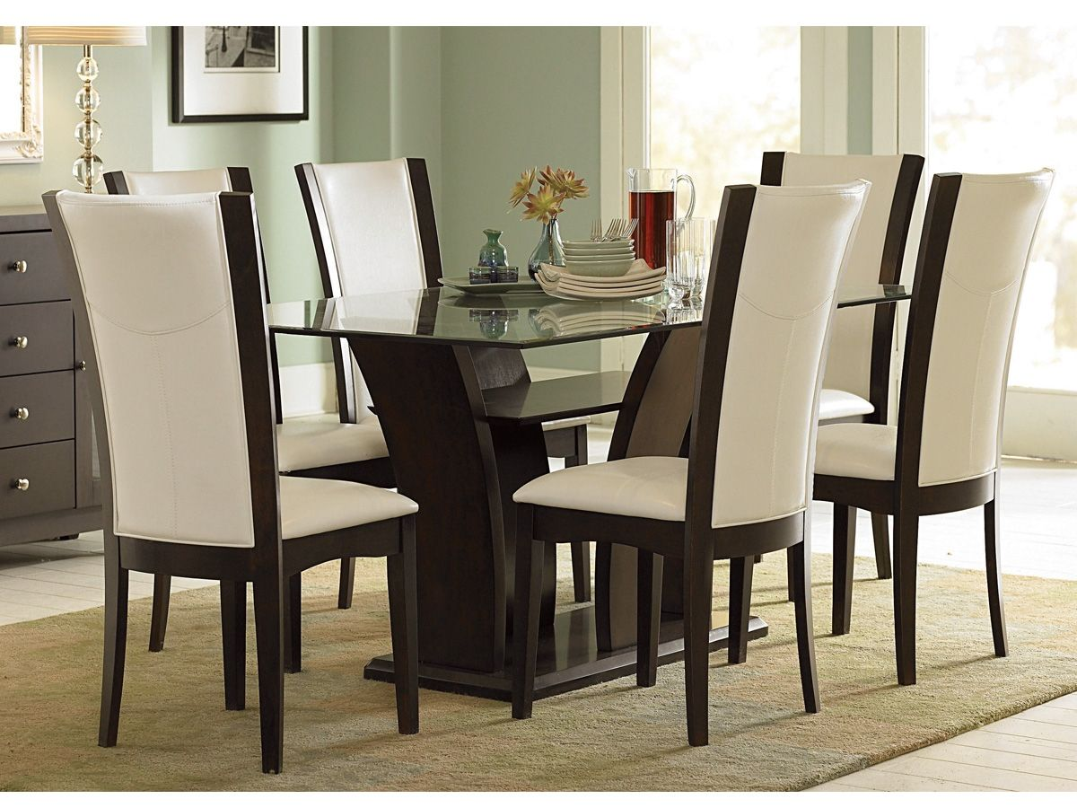 Furniture, Glass Top Wooden Base Fine Modern Dining Table Design With 6  White Leather Dining