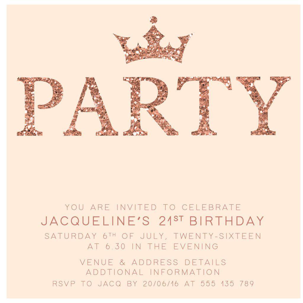 Rose Gold Digital Printable Birthday Invitation Template