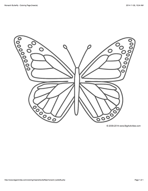 Coloring Page With A Large Monarch Butterfly To Color Butterfly Coloring Page Butterfly Outline Butterfly Printable
