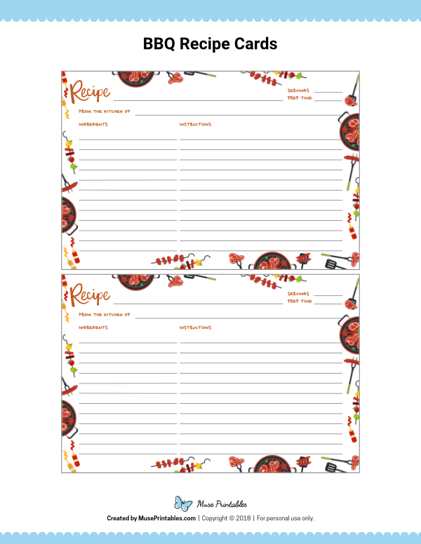 Free Printable Bbq Recipe Cards The Cards Are Editable In Adobe Reader Download Them At Https Mus Recipe Cards Organize Recipes Cards Recipe Cards Template