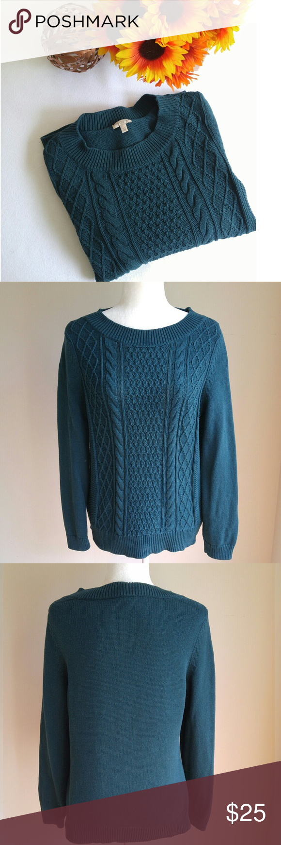 ✨ Talbots Teal Cable Knit Sweater | Cable knit sweaters, Talbots ...