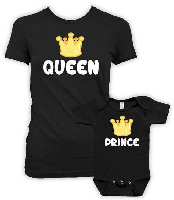 Mommy And Me Clothing Mom And Son Matching Outfits Mother Son Matching Shirts Gifts For Mom T Shirt Queen And Prince Bodysuit MAT-713-714 P6NJ8UV