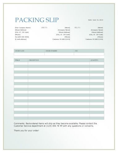 Gradient Design Packing Slip  Packing List Template