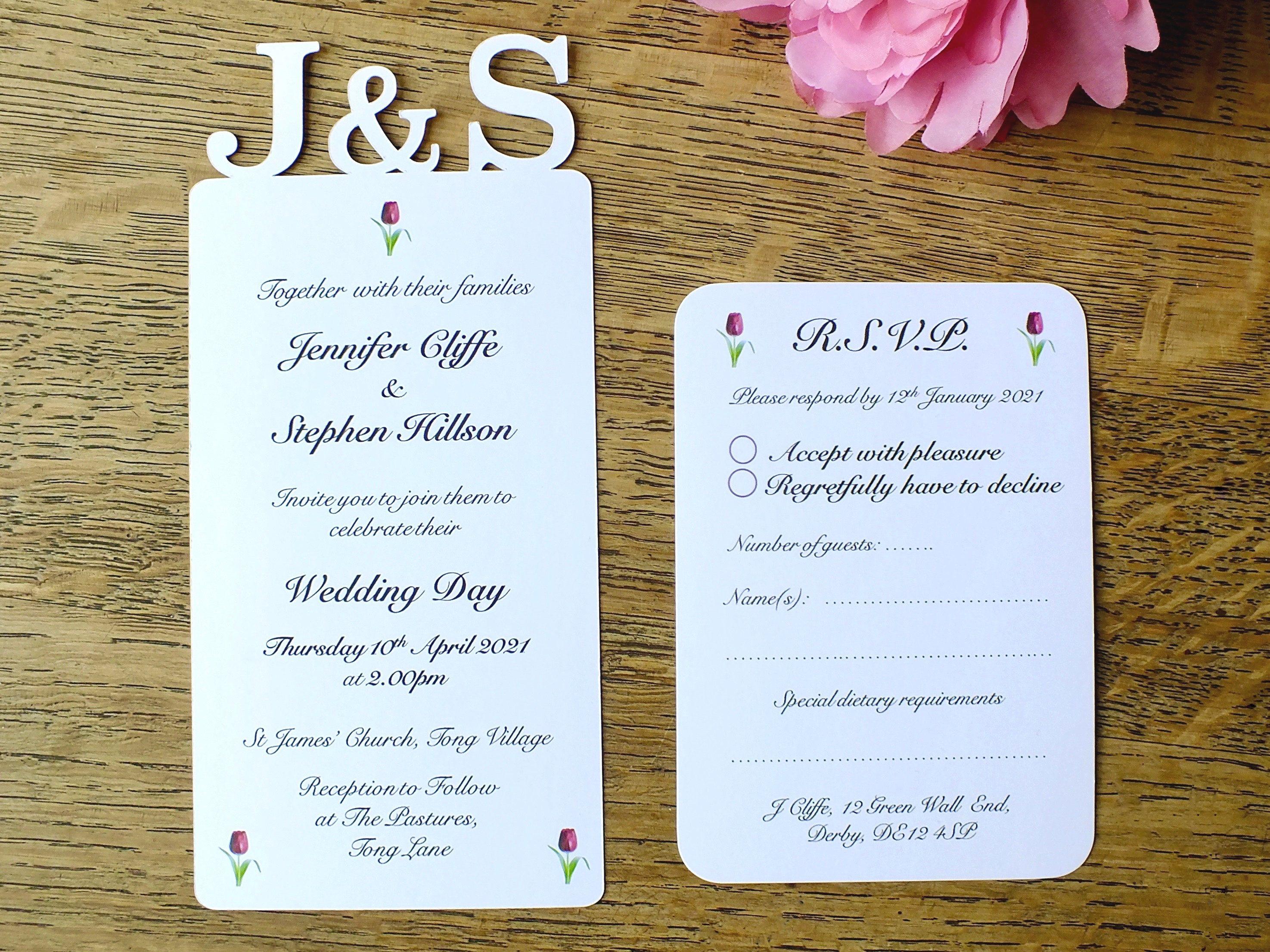 initials wedding invitations and elegant rsvp cards personalised