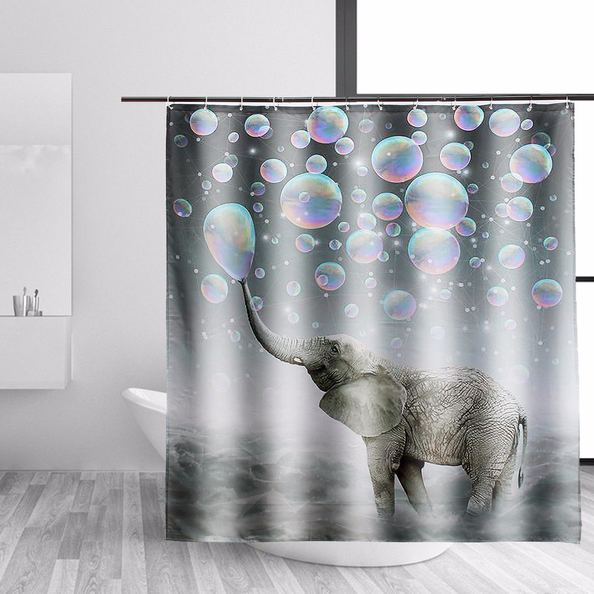 Elephant Fabric Waterproof Bathroom Shower Curtain Panel Sheer