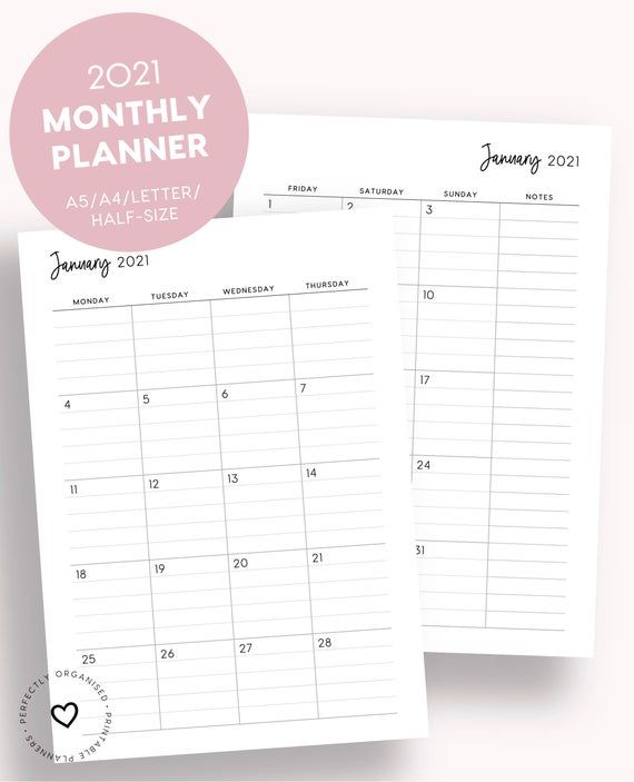 2021 Lined Monthly Planner Printable 2021 Month On 2 Pages ...