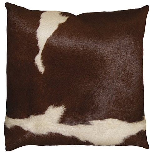 BROWN AND WHITE TORINO COWHIDE PILLOW
