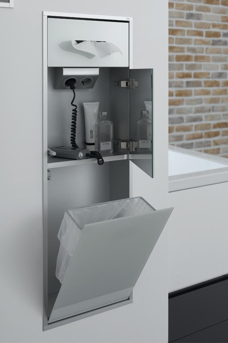 Emco Asis Module 300 Kosmetikmodul Unterputzmodell Mit Elektrofach Mit Doppelsteckdose Badezimmer Badezimmerideen Ablage Dusche