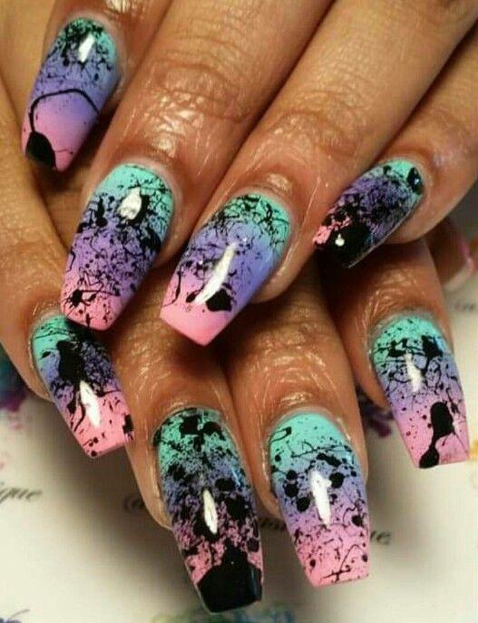 Paint Splatter Nails Design Andreasnailtique Nails Pinterest