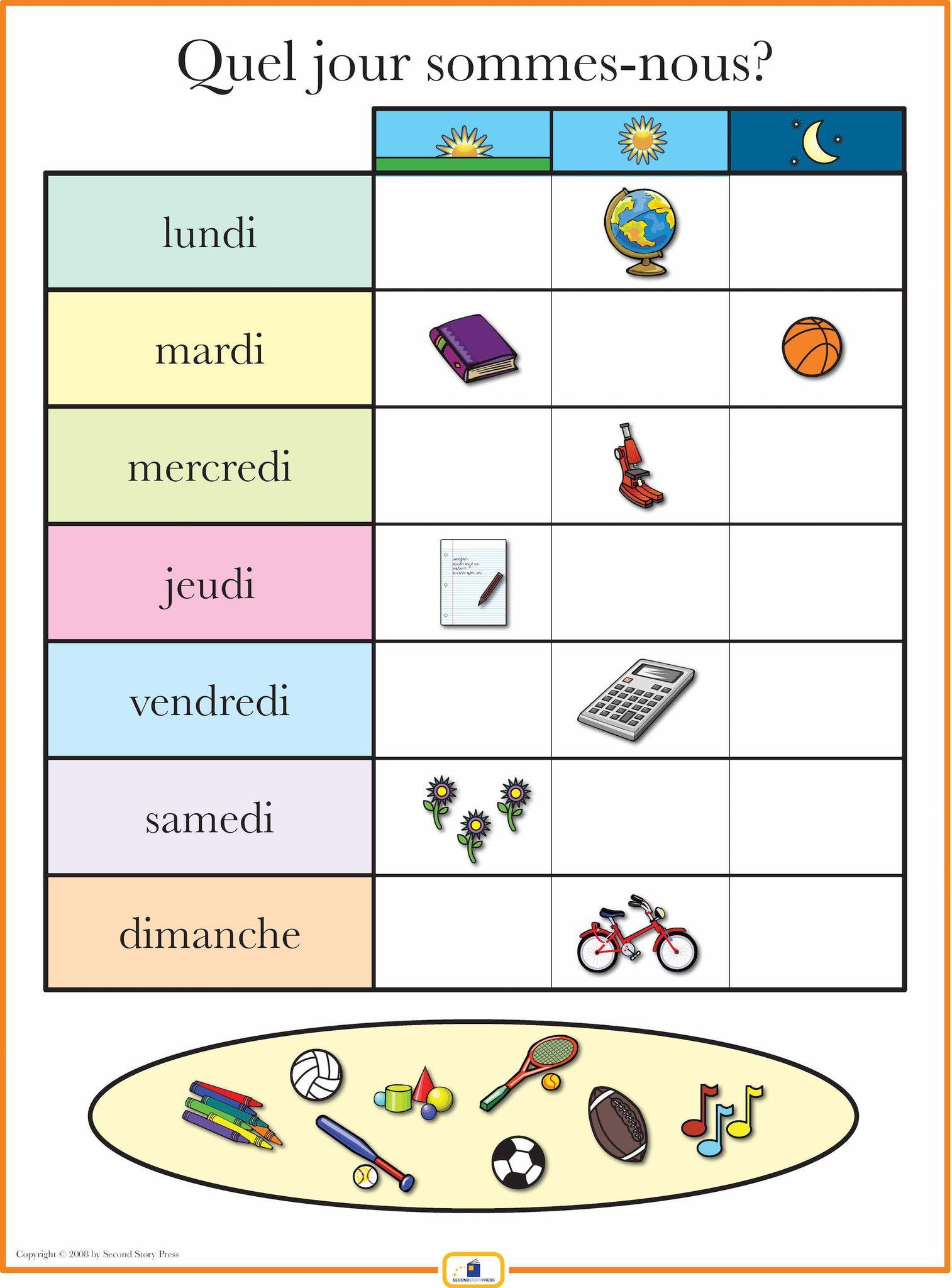 French Days of the Week Poster | Products, French and French days