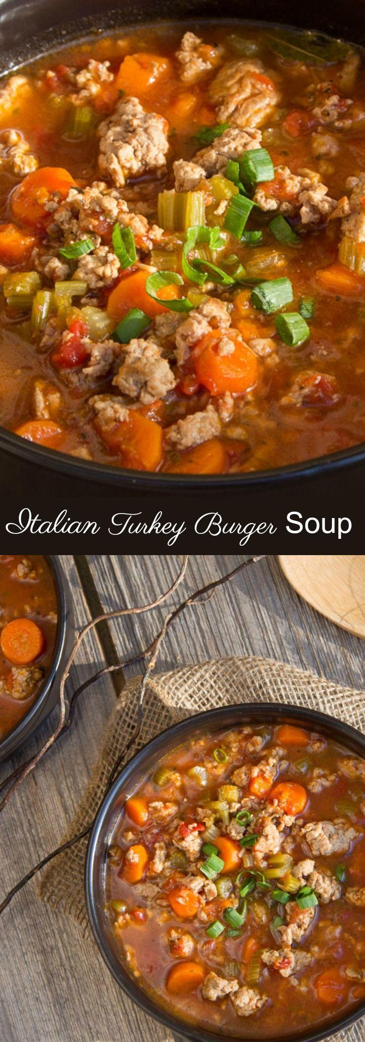 Italian Turkey Burger Soup