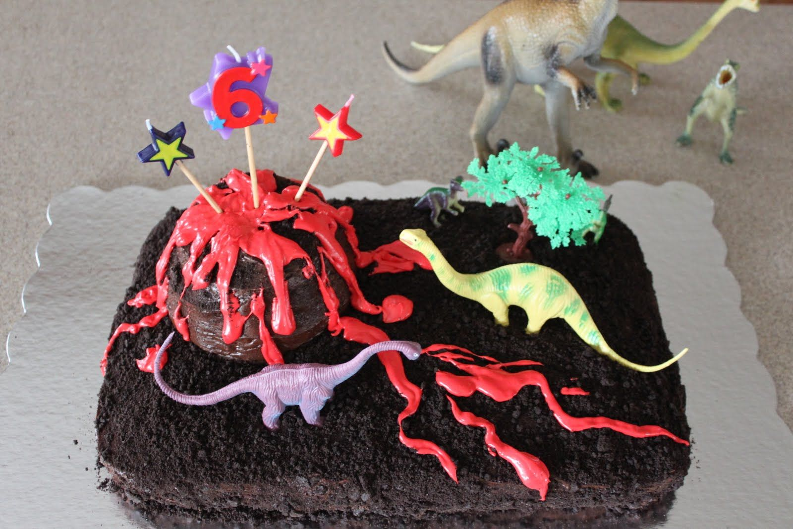 Intentionally Katie Dinosaur Birthday Cake With Volcano Lava And
