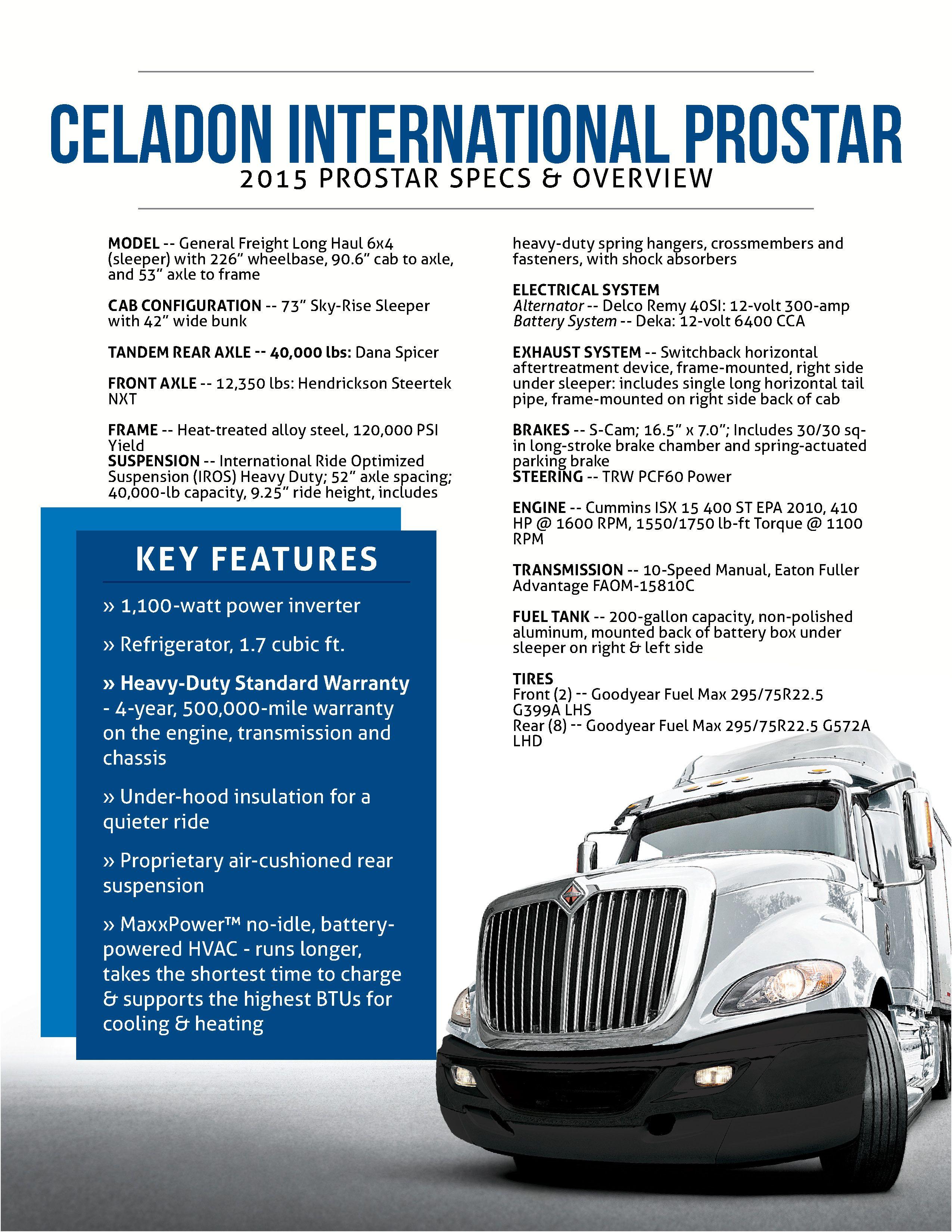 celadon international prostar spec sheet 2015 our drivers get the