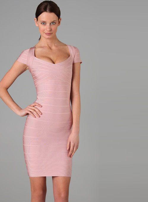 b3017f6a2f9f2 Sweetheart Cap Sleeves Herve Leger Pink Bandage Dress | pink herve ...