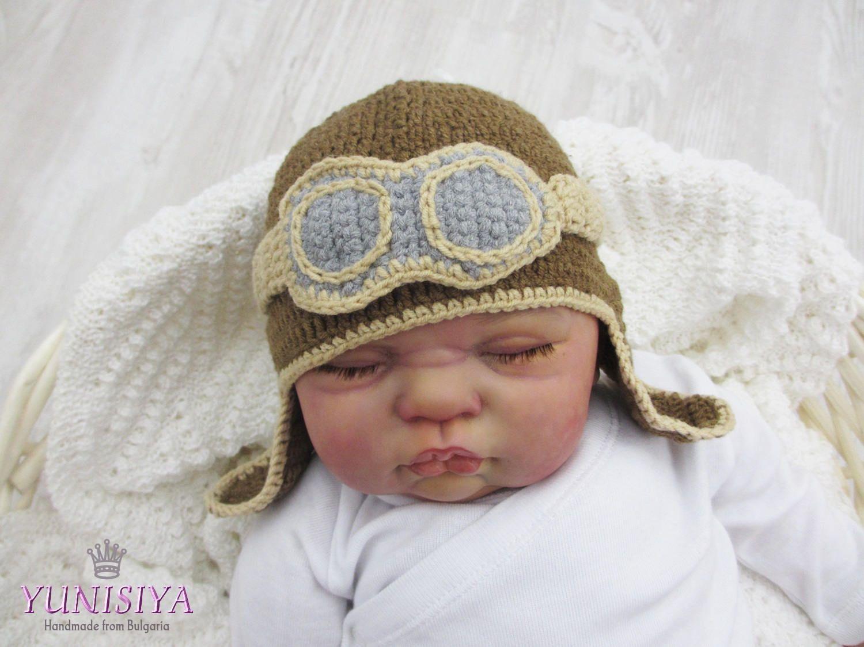 9821f2531 Crochet baby hat Baby boy hat Crochet hat Crochet pilot hat Baby ...