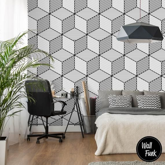 **Black & White Geometric Wallpaper** • Our Wallpaper is 100% made from Recycled Paper • Environmentally Friendly • Pre-Pasted for easy install, much easier than 'peel and Stick' • Spray the back with water to activate the adhesive. • All panels overlap each other to create a beautiful singular design. • All our Packaging is 98% recyclable **Samples** Please note, samples are standard letter/A4 size (210x297mm/8.3x11.7inches) • Samples are available of all our designs as a single sample or pack of three. • If purchasing the three-pack option and you want samples of different designs please paste the links to your three choices in the **Notes to Seller** section of your order. Without a note specifying otherwise, we will send three of the same samples to you. **Sizes/Custom Orders** • The height of our Standard murals are 2.4 meters (7.8 ft approx) • Custom sizes are available with all our designs; just simply request a custom order. • All our murals are made to exact dimensions, so please make sure your measurements are as accurate as possible when submitting a custom order • We always add a few extra centimetres to custom orders in order to account for any wall irregularities. • We cannot take responsibility for any incorrect measurements provided to us. • All Orders ship with a clear set of Instructions which gives the installer an idea on how to install a mural successfully, as well as information on the tools you will require and any preparation you may need to do before installing.