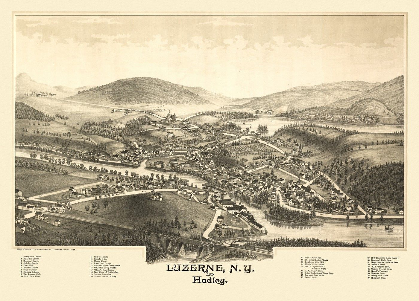 Antique Map of Luzerne New York Poster