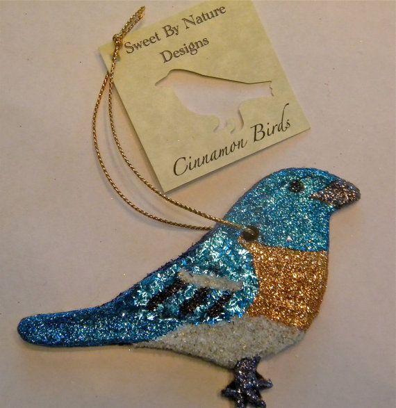 Cinnamon Bird Ornament Lazuli Bunting by SweetbyNatureDesigns, $10.00