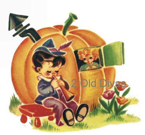 6 Vintage Nursery Rhyme Decals 1950s