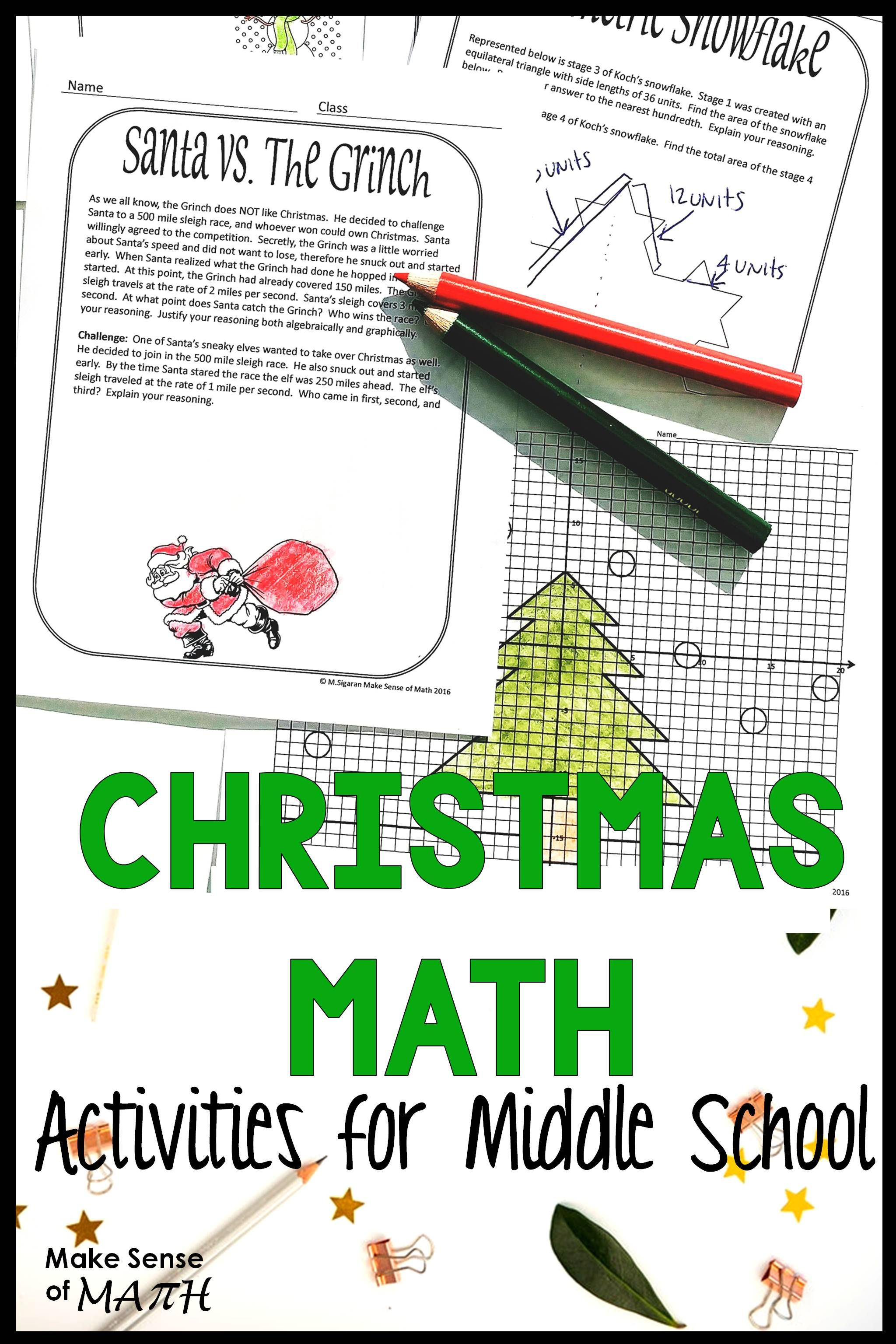 Christmas Math Activities Middle School