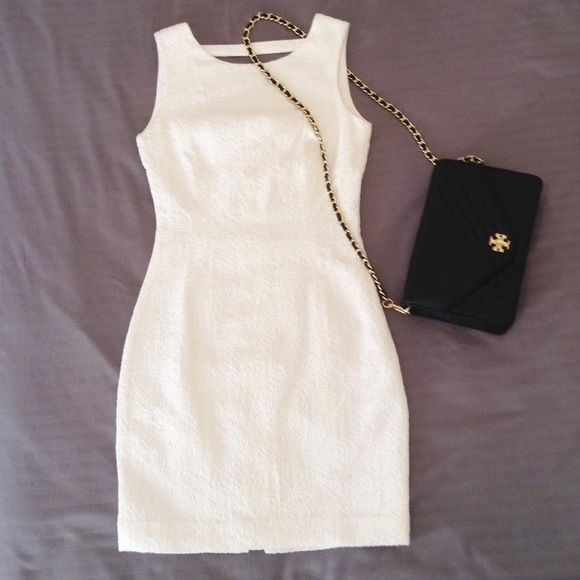 H&M White Jacquard Cocktail Dress Worn only once, like new. Marked as size 4, but   H&M size usually runs small. It would fit size XS. Length 33'', breast circumference 32'', waist circumference 26'', hip circumference 35''. No trade. H&M Dresses Mini