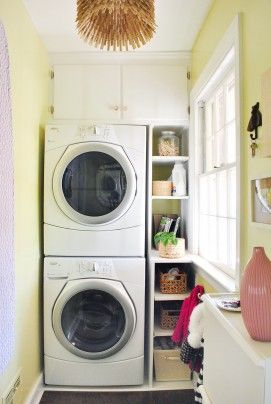 """Their laundry room was dark and gloomy and had only one window, which overlooked a carport. To spice things up, they painted it Sesame by Benjamin Moore, a playful lemon-lime. Sherry calls it """"a soft avocado yellow with a little splash of green."""""""