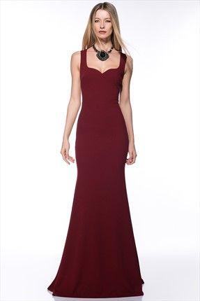 Bordo Elbise Mlwss142860 Elbise Uzun Elbise Elbiseler